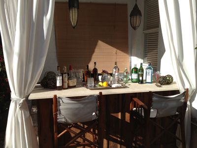 View of the outdoor Bar set up for a party.