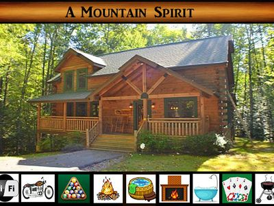 Photo for A Mountain Spirit - Beautiful Private Setting \ Game room \ Fire Pit \ Hot Tub