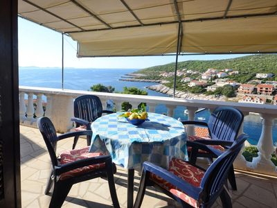 Photo for Two bedroom apartment with terrace and sea view Zavalatica, Korčula (A-14204-c)