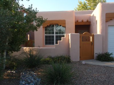 A private courtyard is a welcoming entrance to a Land of Enchantment vacation.