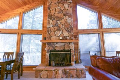 Picturesque views inside and out. LED fireplace adds year round ambiance.