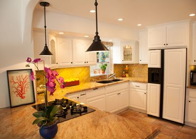 Gourmet kitchen is appointed with all the goodies for a master chef or a novice.