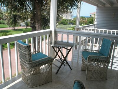 Peaceful balcony time .... enjoy coffee and rolls while listening to the surf.