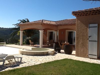 Photo for Beautiful villa with great calm sea and mountain view with heated pool