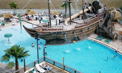 Take a plunge from the pirate ship, relax by the pool, or have a dip in the spa!