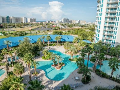 Photo for Palms 1715 -Fantastic Two Bedroom Two Bath Condo Overlooking 11,000 sqft Pool