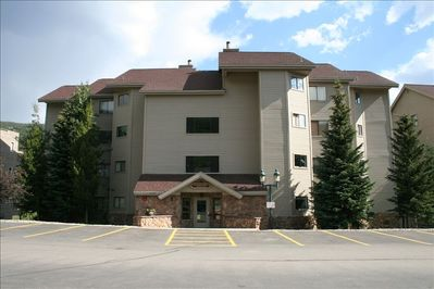 Front View of the Condo in the Summer - We're Located on the 3rd Floor