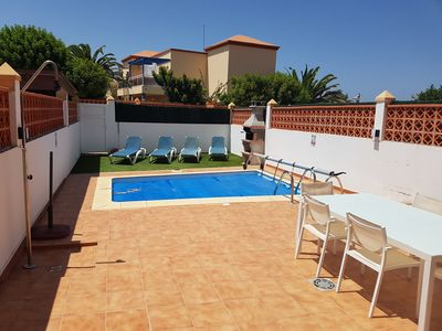 Photo for VILLA WITH HEATED PRIVATE POOL , WIFI, BBQ, 5 MIN WALK TO BEACH AND LOCAL SHOPS.