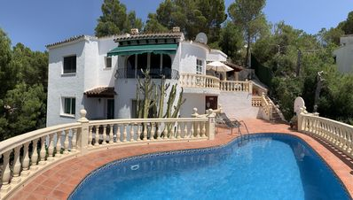 Photo for Large 4 bed villa private pool wifi air con UK TV  peaceful yet close to beach