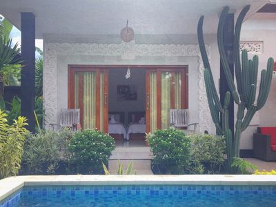 Photo for Lovina Guesthouse, twin room pool view