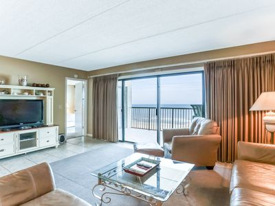 Photo for 3 Bed/2 Bath Oceanfront condo, remodeled kitchen, sleeps 7.  W/D, tennis, balcony, pool & pier.