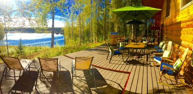 Photo for 15 acre lake front log cabin including boats,fire pits,trails,fishing gear