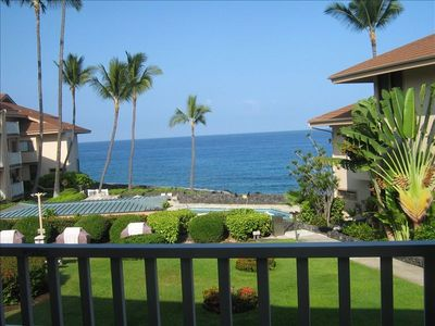 View from Our Lanai of Ocean, Gardens, Pool & Bbq