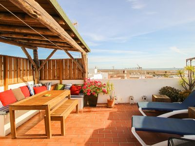 Photo for Private terrace and seaviews, near to beach + old town of Conil, Apt. Tinto with aircon and WiFi internet