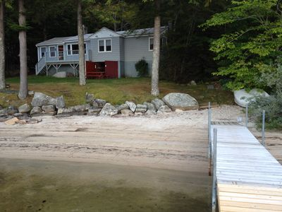 Photo for Direct Sebago waterfront, large private sandy beach, dock, quiet, peaceful