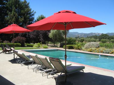 By the pool with garden, vineyard and mountain views.