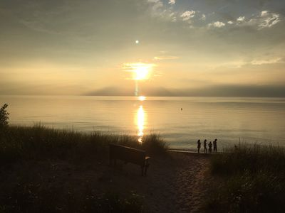Nothing beats sunset over Lake Michigan at the nearby Harbert or Cherry Beach