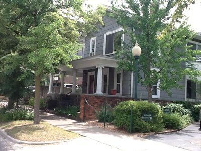 View of duplex house as you walk east on Washington; guesthouse on main floor