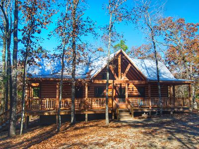 Photo for RUSTIC LUXURY Double MASTER SUITES /Log Cabin, 2 King beds,Hot tub,Wifi&Firepla