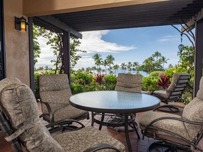 ocean view from living room lanai, seating for 6, bbq & outdoor lighting