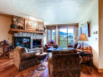 Photo for 2 Bedroom + Den w/Private Balcony, Summer Mountain Views, Pool & Hot Tubs!