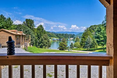Enjoy lake views from the cabin's deck.