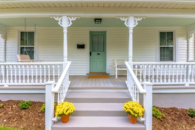 Close up of beautifully restored porch