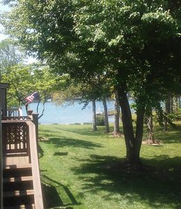 View of Lake Catherine while having morning coffee on the deck.