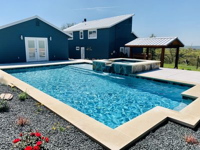 Photo for NEW Austin Hill Country Charmer! POOL/HOT TUB/VIEWS! Parks/breweries/BBQ & more!