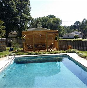 Private pool with Gazebo for relaxing on a hot summer day.