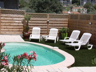 Photo for 2 rooms AIR CONDITIONED, SWIMMING POOL, rez of garden of a villa, in calm close center