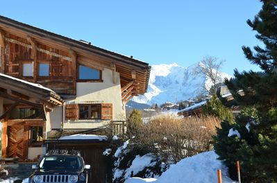 Large demi chalet with large garden and views of Mt Blanc