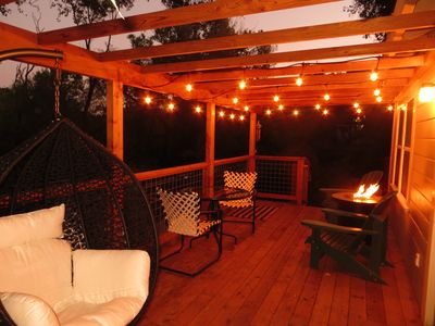 The deck is magical at night!
