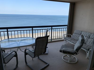 Ocean view for miles on a large balcony with seating for 8