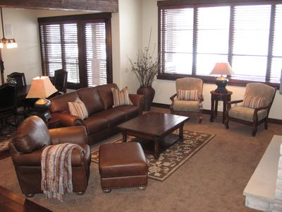 Another view of living room with views of golf course!