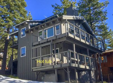 Mountain home has views of Lake Tahoe! Here you see the Hot tub-1st floor deck.
