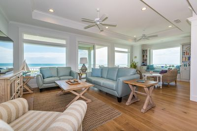 Spectacular ocean views from the beautiful great room! Plenty of seating!