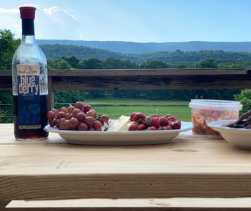 View overlooking the cornfield and hayfield. All you  need is wine and cheese!