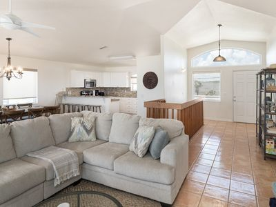 Bright, spacious living area with room for large groups.