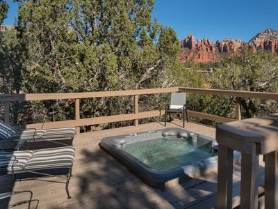 Photo for Charming home that has a deck and hot tub to enjoy the unique distinction of glorious red rock views as well as private creek access! BREWER - S001