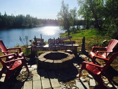 Fire Pit and Lake from the back of the Cabin.