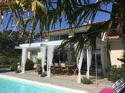 Photo for Bright Villa Bassin Arcachon Heated Pool with Large Garden