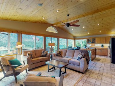 Photo for Spacious lakeview home w/ great deck, two kitchens, Ping-Pong & gazebo!