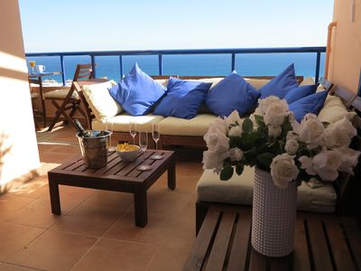 Photo for TOP LOCATION: Luxury penthouse, golf, terrace 180 ° fantastic sea view, free Wifi
