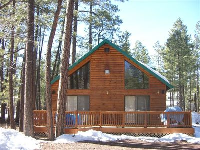 Photo for Family cabin nestled in the pines close to ski resort and golf courses.