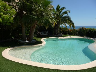 Photo for Nice, luxurious air-conditioned villa, swimming pool, sea view 1.5km from beach