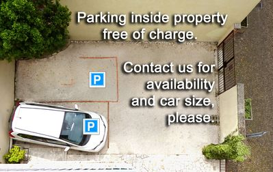 Parking inside property, contact us for availability and car size.