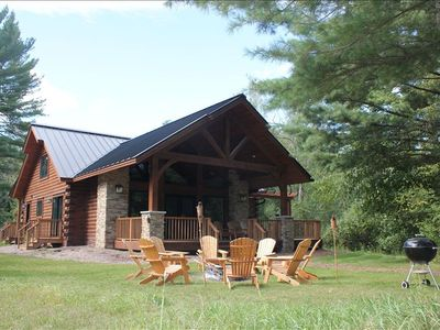 Photo for Luxury Lakefront Log Home on the Waupaca Chain O' Lakes