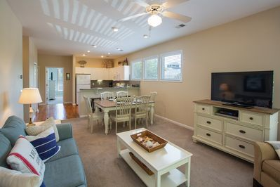 Open floor plan with designer furnishings and accessories