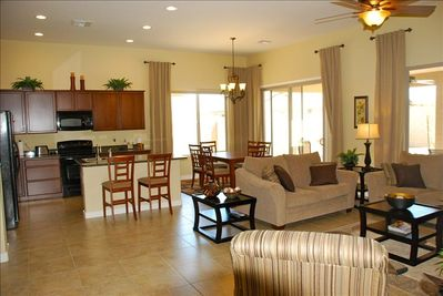 Kitchen, dining and family room with 11 foot ceiling.  Very open and comfortable
